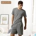 Qiaxniu Pijama Para Casais Definir calções de manga Curta listras clássicas Dos Homens de alta-grade conjuntos de Pijama