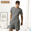 Qiaxniu Pijamas Para Hombres Parejas Conjunto pantalones cortos de manga Corta rayas clásicas de alto grado pijama