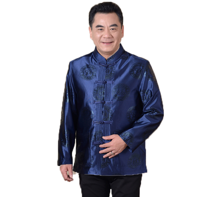 WAEOLSA Chinese Style Man Mandarin Collar Jackets Blue Red Tangzhuang Coats Father Elegance Outfits Ethnical Mao