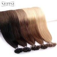 Neitsi машина сделала Реми U кончик ногтя Пряди человеческих волос для наращивания прямо индийские Кератин Fusion капсулы для волос 16