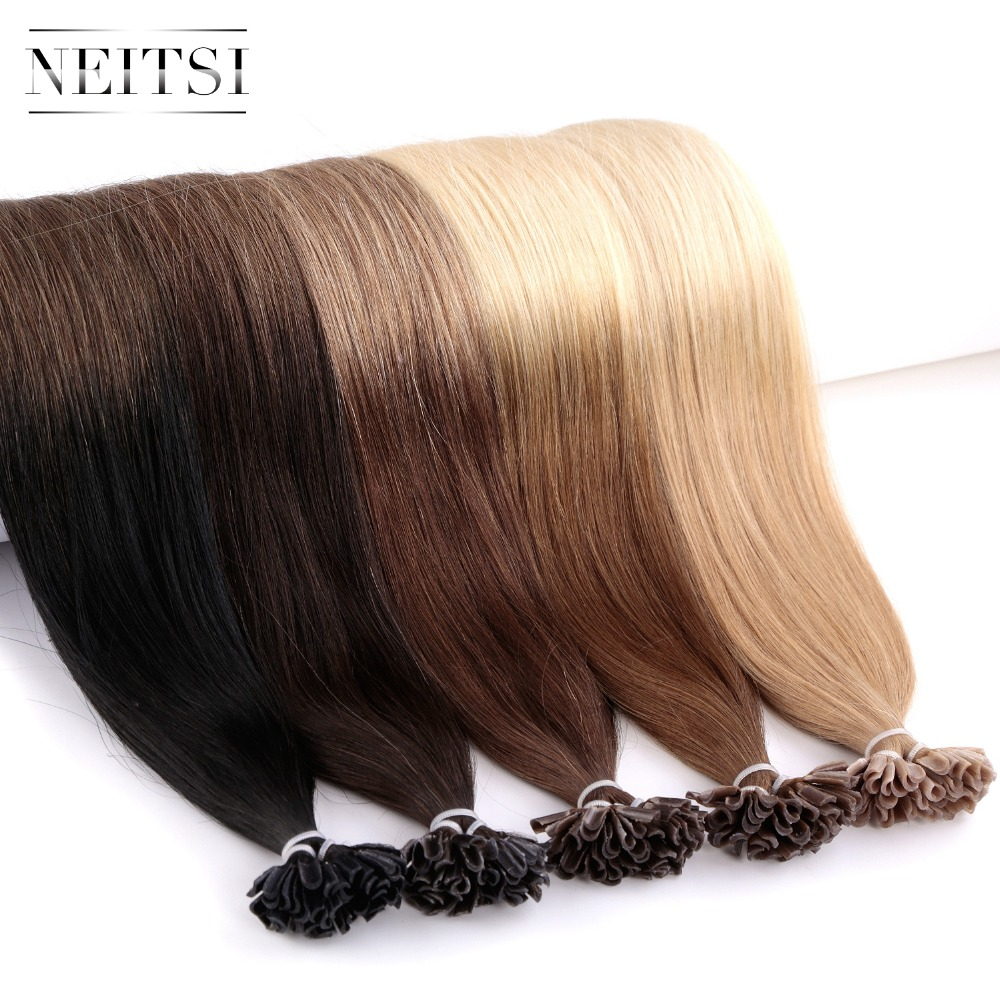 Neitsi Machine Made Remy U Nail TIP Human Hair Extensions Straight Indian Keratin Fusion Capsules Hair