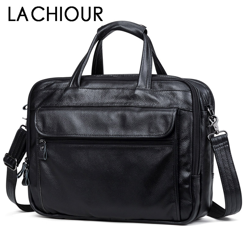 Fashion Genuine Leather Men A4 Office Bag Handbag Business Casual Men s Travel Bag 17 Laptop