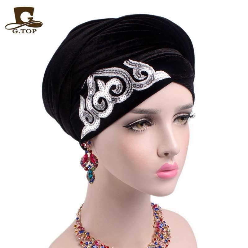 New Fashion Women Gorgeous Embellished Sequined Velvet Turban Long Head Wraps Women Luxury Hijab Head Scarf Turbante