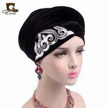 Yeni moda kadınlar muhteşem Süslenmiş payetli Kadife Türban Uzun Başkanı Sarar kadınlar lüks Başörtüsü başörtüsü turbante