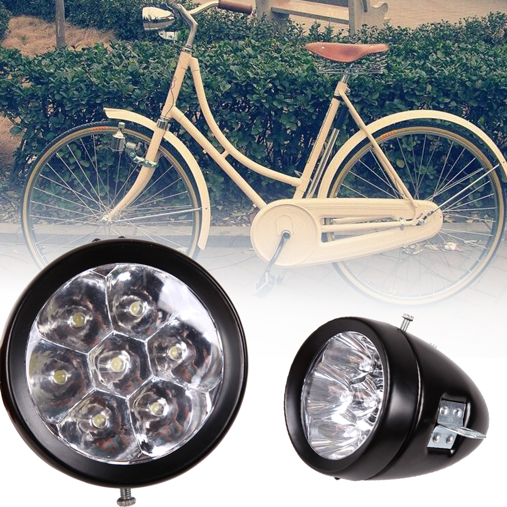 Waterproof 7 LED Metal Shell Bicycle Light Retro Style Classic Vintage Vntga Retro Bike Bicycle Front Headlight Bike Accessory