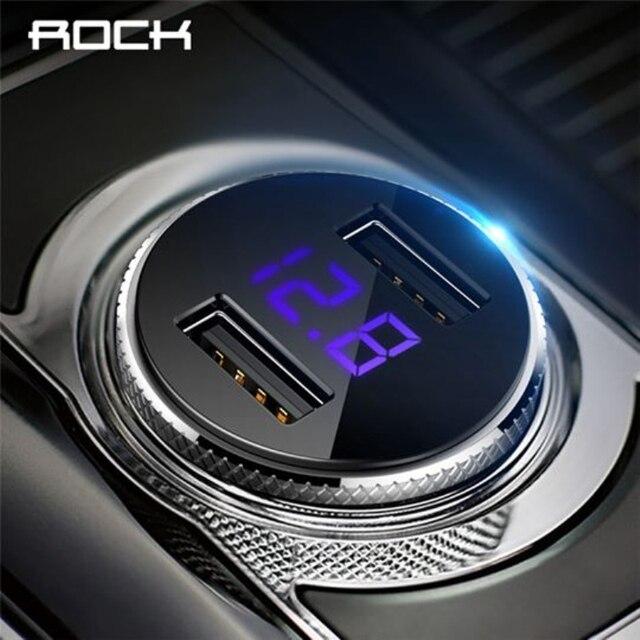 Pantalla Digital ROCK cargador de coche USB Dual 5 V 3.4A para iPhone 7X8 Xiaomi Samsung voltaje de carga rápida vigilancia Universal