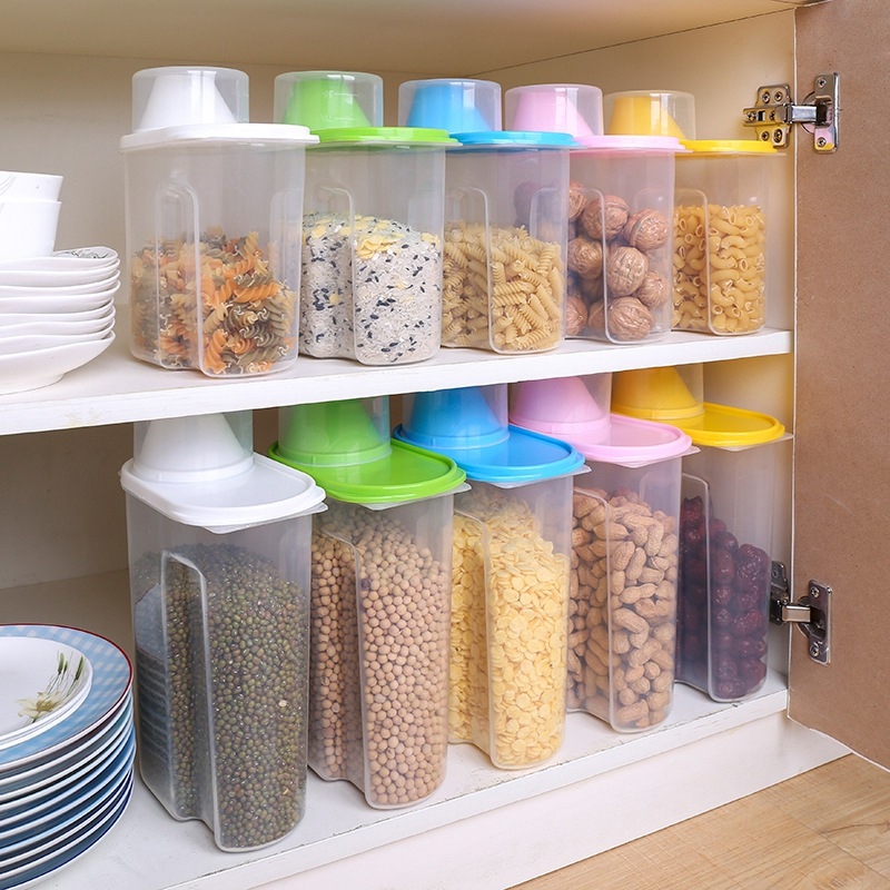 1.9L/2.5L Large Capacity Plastic Dried Food Storage Bins Cereal Containers Dispenser Holder With Graduated Cap image