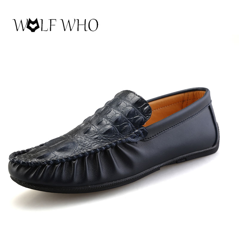 WolfWho New Man Moccasin Breathable Men's Loafers Designer Flat Soft Leather Shoe Fashion Boat Shoes Male Moccasins Classical high quality genuine leather loafers men breathable casual shoes soft men flats fashion boat shoes lazy loafers man moccasin 2 5