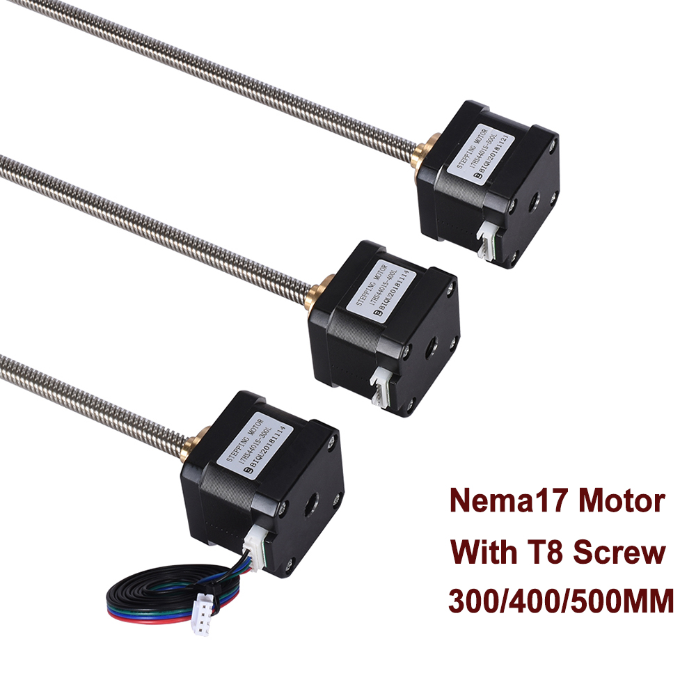 Nema17 Stepper Motor Screw 17HS4401S-T8x8-300/400/500mm Lead Screw With Copper Nut Lead 8mm For 3d Printer Parts