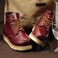Funky Forrada de Piel de Estilo Británico Salvaje de La Celebridad Del Vendaje de Tacón Alto Tobillo Botas de Trabajo De Seguridad Zapatos Ocasionales de Los Hombres de Invierno de Algodón Acolchado