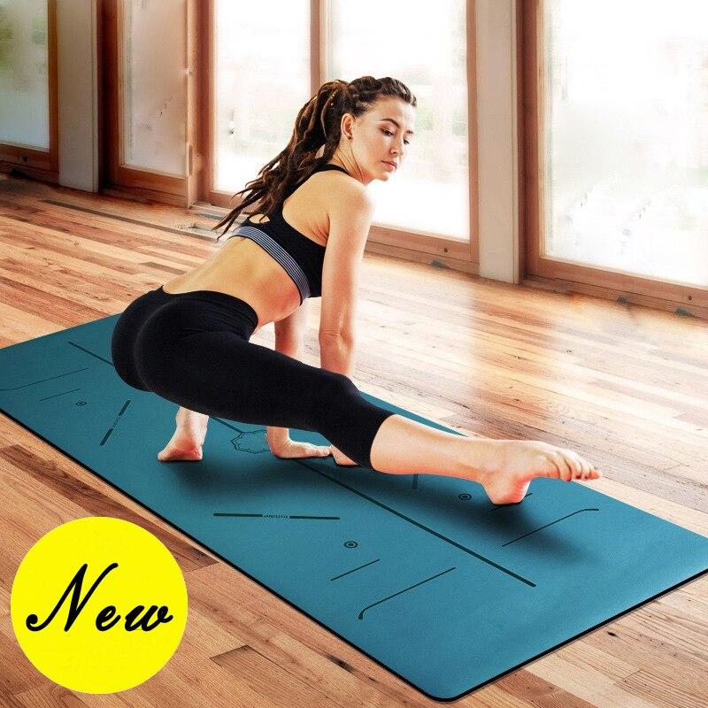 Natural Rubber Body Position Line Yoga Mat Lengthening Widened Non-slip Professional Yoga Mat Exercise Mat Gym Mat more longer new style 183cm 68cm 5mm natural rubber non slip tapete yoga gym mat lose weight exercise mat fitness yoga mat