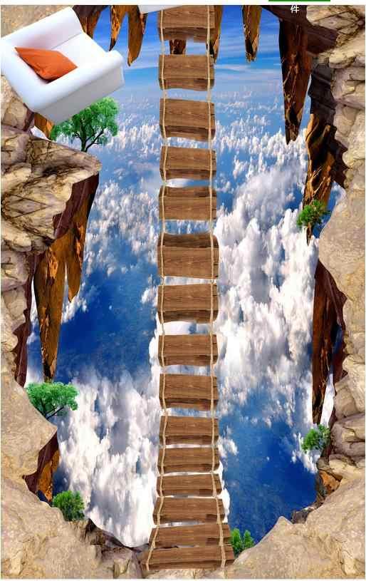 Papier peint PVC auto-adhésif le ciel promenade flottante 3 d peinture au sol peinture au sol papier peint 3D