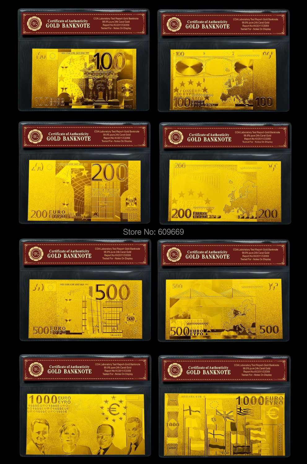 Gold Foil <font><b>Euro</b></font> <font><b>Banknote</b></font> Set 100 200 500 <font><b>1000</b></font> , Custom Acceptable image