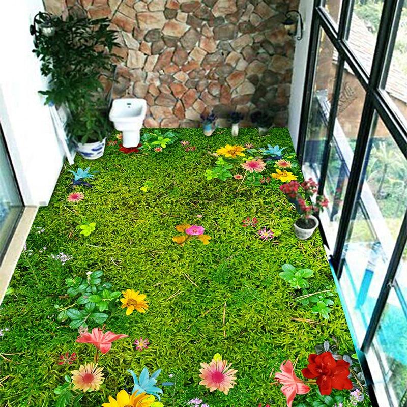 Custom Mural Wallpaper Modern Pastoral Flowers Grass Lawn