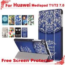 Para huawei LTE t2 7.0 caso de Moda de Cuero de La Pu Del Caso Del Soporte de Cubierta para Huawei MediaPad 7.0 T1 T1-701u BGO-DL09 + free 2 Película de la Pantalla