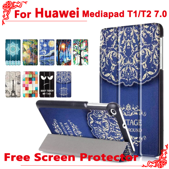 For huawei t2 LTE 7.0 case Fashion Pu Leather Stand Case Cover For Huawei MediaPad T1 7.0 T1-701u BGO-DL09 + free 2 Screen Film