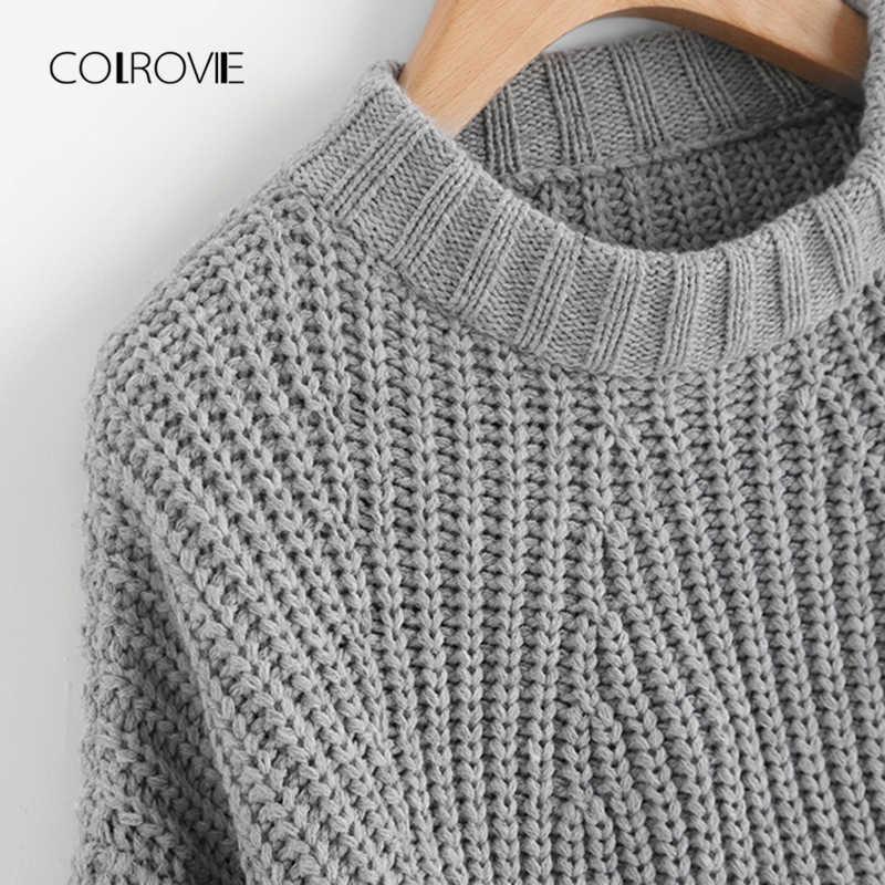 COLROVIE Grey Solid Casual Vented Chunky Knit Crop Vrouwen Trui 2018 Herfst Lange Mouw Gebreide Trui Meisje Truien Jumper