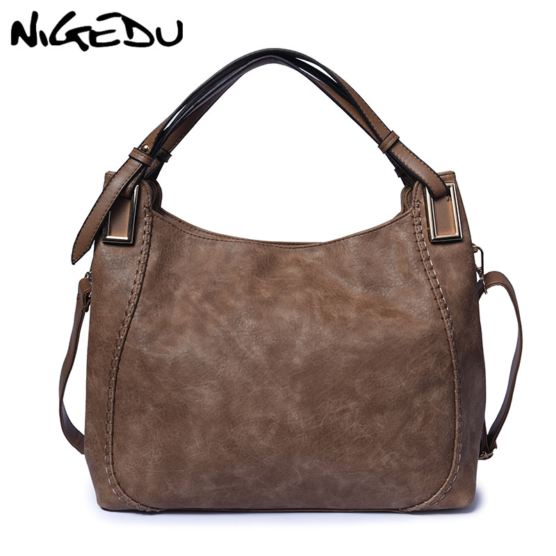 NIGEDU Large Soft Leather Bag Casual Women Handbags Ladies Crossbody Bags For Women's Shoulder Bags Female Big Tote Famous Brand