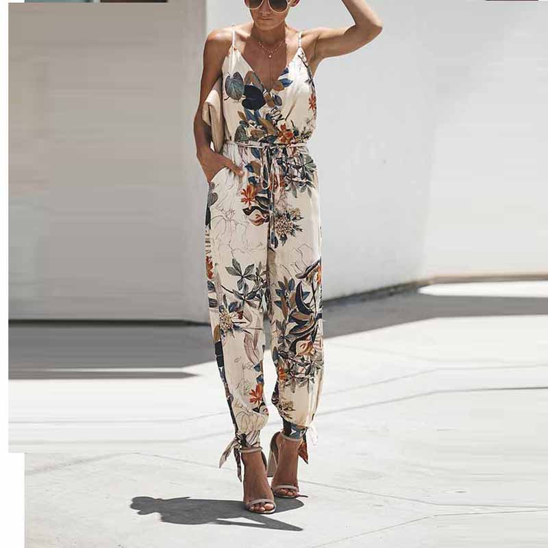 Sexy Sleeveless Jumpsuit Women Long Romper Lace Up Summer Lady Bandage Floral Trousers Beach Jumpsuit Coveralls Female Frock
