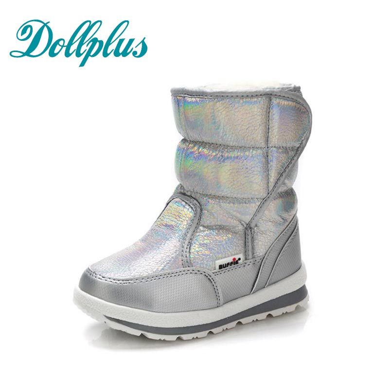 2017 New Winter Paternity Boots Girls Warm Snow Boots Kids Fashion Children Waterproof Non-Slip Girls Shoes Eur Size 25#-41 kelme 2016 new children sport running shoes football boots synthetic leather broken nail kids skid wearable shoes breathable 49