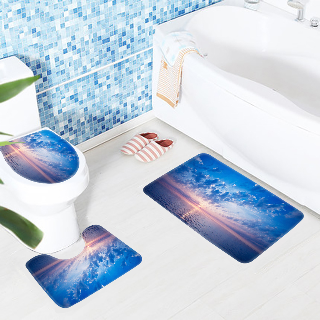 3pcs Bathroom Mat Set Beach Sunset Recliner Chairs Pattern Bath Mat ...