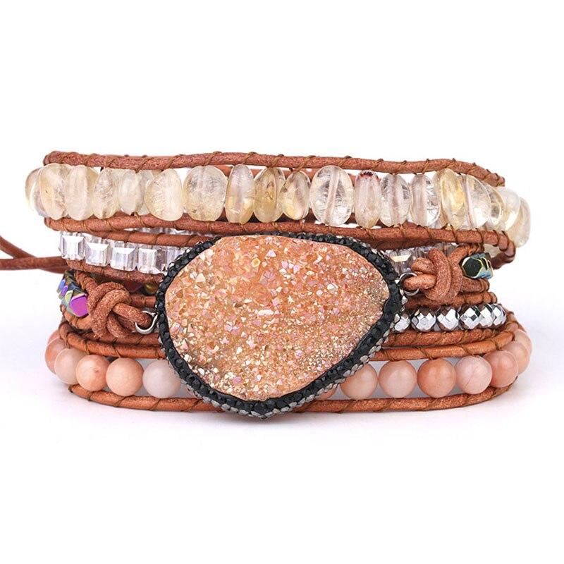 Bracelets d'enveloppement en cristal naturel femmes breloque en Quartz naturel 5X Bracelet d'amitié en cuir Bracelet Boho