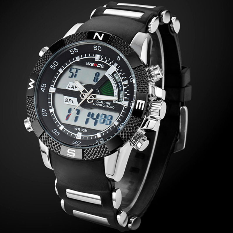 2017 WEIDE Watches Men's Casual Watch Multifunction LED Watches Dual Time Zone With Alarm Sports Waterproof Quartz Wristwatches men s waterproof sports watch multifunctional watch w dual time zone led