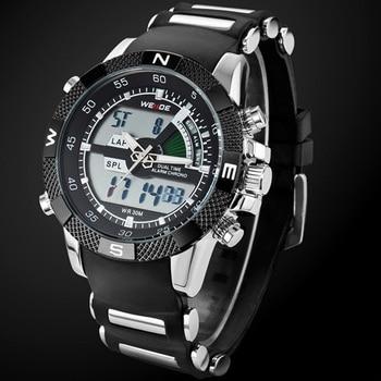 2017 weide orologi uomo casual orologio multifunzione ha portato orologi dual time zone con allarme sport impermeabile al quarzo orologi da polso