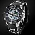 2017 weide relojes hombres casual reloj led multifunción relojes de zona horaria dual con alarma impermeable de los deportes de relojes de pulsera de cuarzo