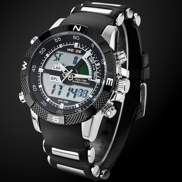2019 WEIDE Watches Mens Casual Watch Multifunction LED Watches Dual Time Zone With Alarm Sports Waterproof Quartz Wristwatches
