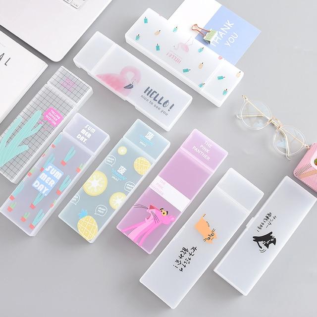 MUJI стиль простой прозрачный пенал Фламинго кактус пенал Пластик коробка для хранения обучения канцелярские принадлежности