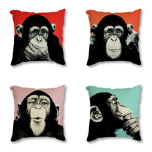Global Monkey Picture Printed Decorative Linen Cushion Cover For Sofa Car Chair Home Decor Throw Pillow Case 45cm Drop shipping цены