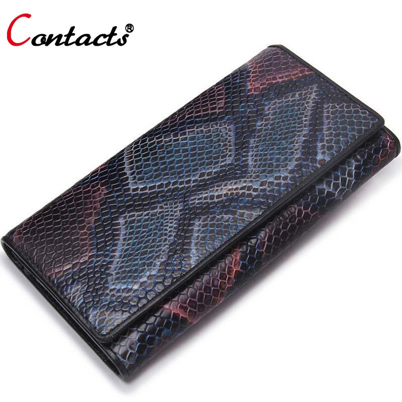 CONTACT'S Famous Brand Genuine Leather Wallet Women Bag Female Purse Woman Wallets Long Card Holder Serpentine Clutch Walet 2017 famous brand 2016 genuine leather women men long wallet khaki black purple for ladies purse solid woman man large burse yi235