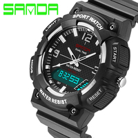 New SANDA Luxo Marca Men Sports Watch Multifunction Quartz Digital LED Backlight À Prova D' Água 3ATM Militar Relógios Horas