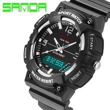 New SANDA Luxo Marca Men Sports Watch Multifunction Quartz Digital LED Backlight À Prova D' Água 3ATM Militar Relógios Horas