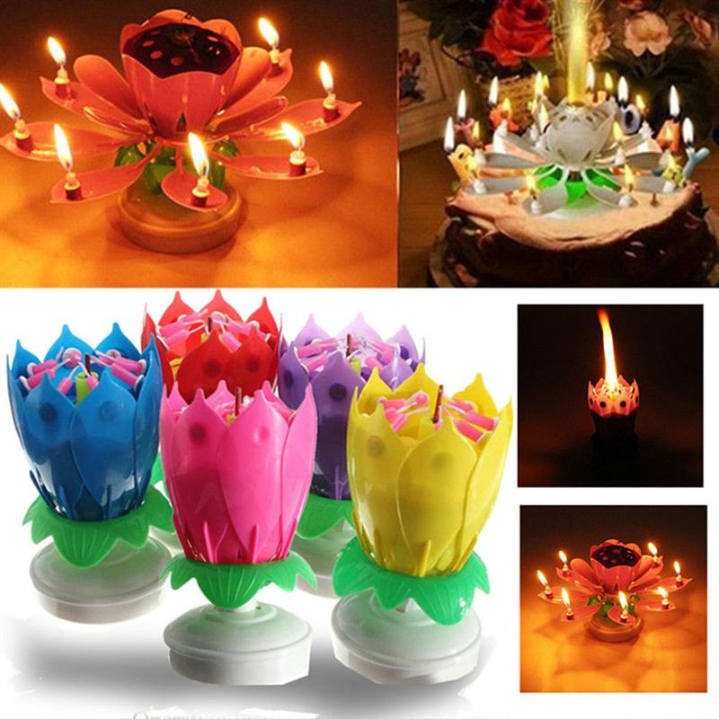 Double Layers Lotus Birthday Candle With Music Rotating Happy Song Pink In Party DIY Decorations From Home Garden On Aliexpress