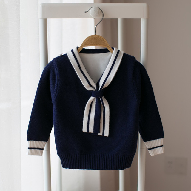 Children sweater Girls Streamers college style Knitted sweaters korean style long sleeve Solid color cotton girls cardigan