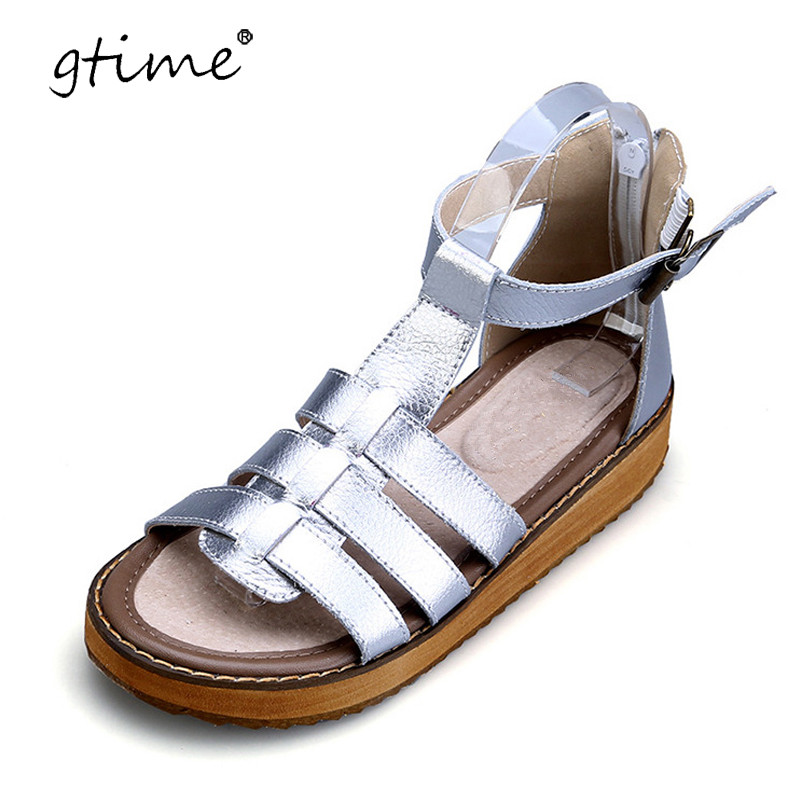 Gtime 2017 Summer Genuine Leather Women Shoes Casual Fashion Women Gladiator Sandals T-Strap Wedges Platform Beach Shoes ZWS202 phyanic 2017 gladiator sandals gold silver shoes woman summer platform wedges glitters creepers casual women shoes phy3323