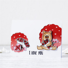 Eastshape Bear Hugs Kisses Stamps and Dies Sets for Scrapbooking Craft Die Clear Stamp Cards Making Metal Cutting New 2019