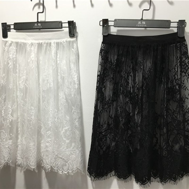 Hot Summer Women Sexy Lace Skirts Fashion Solid Casual Mesh Tulle Skirt Hollow Out Short Pencil Elegant Skirt