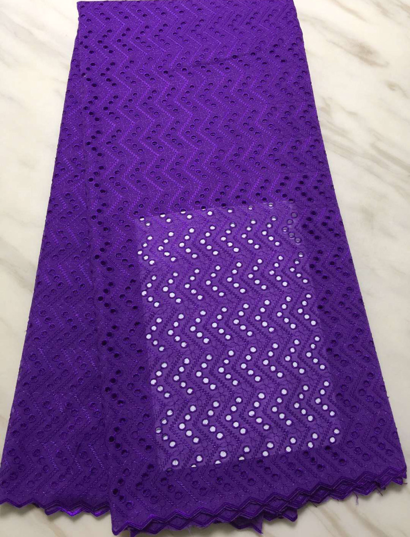 5yards pc wonderful design African dry cotton lace fabric purple color Swiss voile lace fabric