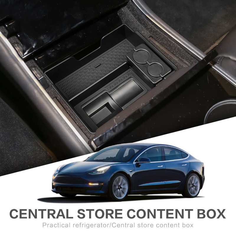 ABS plastic Center Console Organizer For Tesla MODEL3 M3 Stowing Tidying Glove Box Black high quality Storage Box in Stowing Tidying from Automobiles Motorcycles