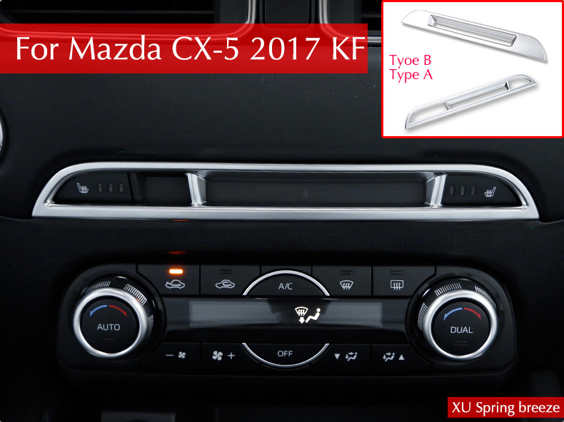Interior Accessories Matte Middle Console Seat Heating CD Display Decorative Trim For Mazda CX-5 CX5 2017 2018 KF Car Styling dnhfc interior door handle switch decorates sequins lhd for mazda cx 5 cx5 kf 2nd generation 2017 2018 car styling