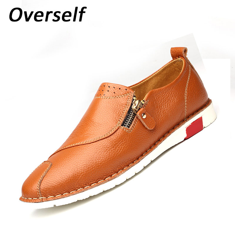 New Fashion Summer Zip Soft Moccasins Men Loafers High Quality Genuine Leather Shoes Breathabl Men's Flats Gommino Driving Shoes