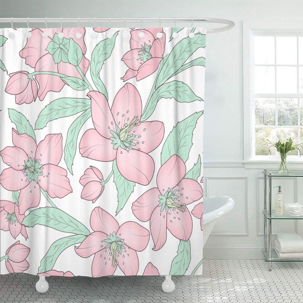 Морозник цветочный розовыми лепестками и зелеными листьями Рождественская Роза зима постное декора душ Шторы s Ванная комната Шторы