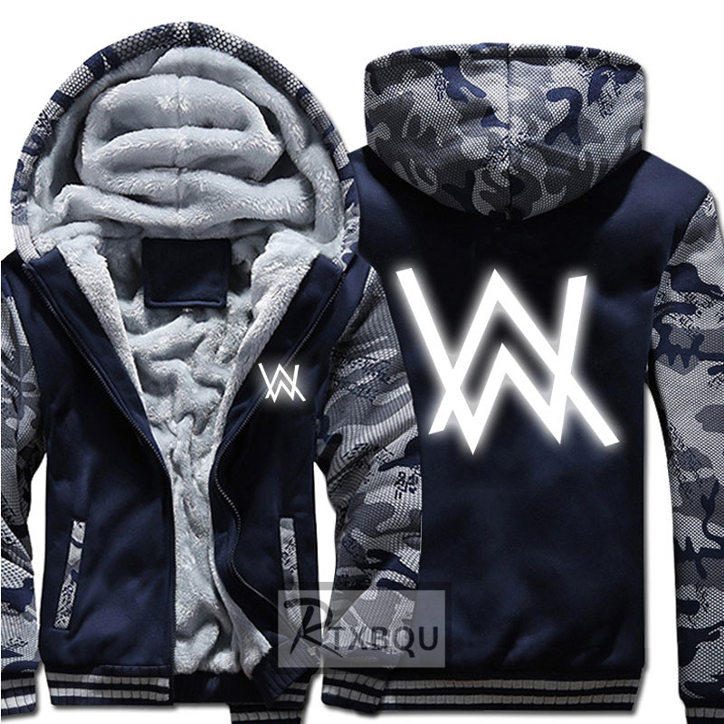 New Winter Jackets and Coats Faded Alan Walker hoodie Luminous Thick Zipper Men Sweatshirts