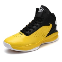 2017 Black Yellow Men Leather Basketball Sport Boots Lace Up Male High Top Gym Trainrs Brand