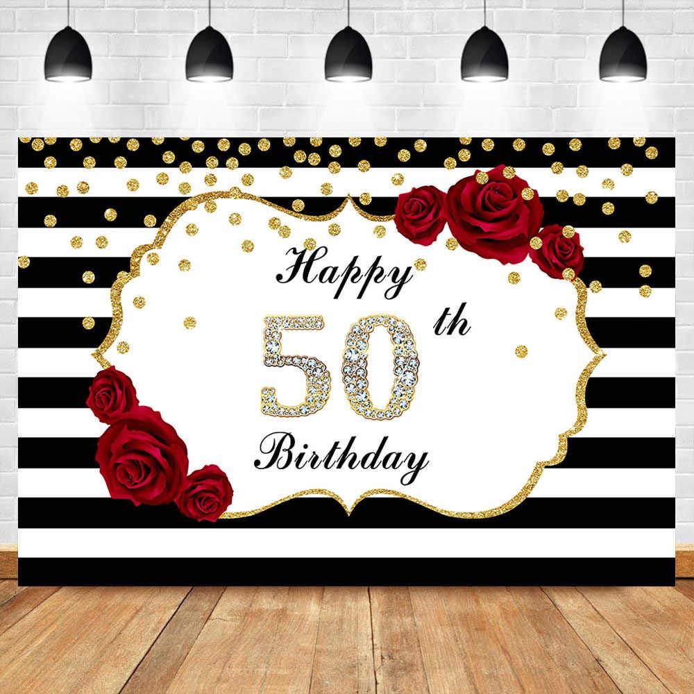 Feliz 50th aniversário pano de fundo vermelho rosa flor preto e branco listras foto fundo brilho ouro pontos diamantes backdrops