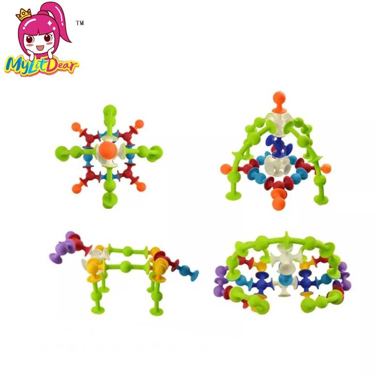 Vluchten Zoeken 72 Stks/pak Multicolor Montessori Siliconen Bouwstenen Speelgoed Baksteen Sucker Diy Blok Assembleren Educatief Speelgoed Voor Kinderen