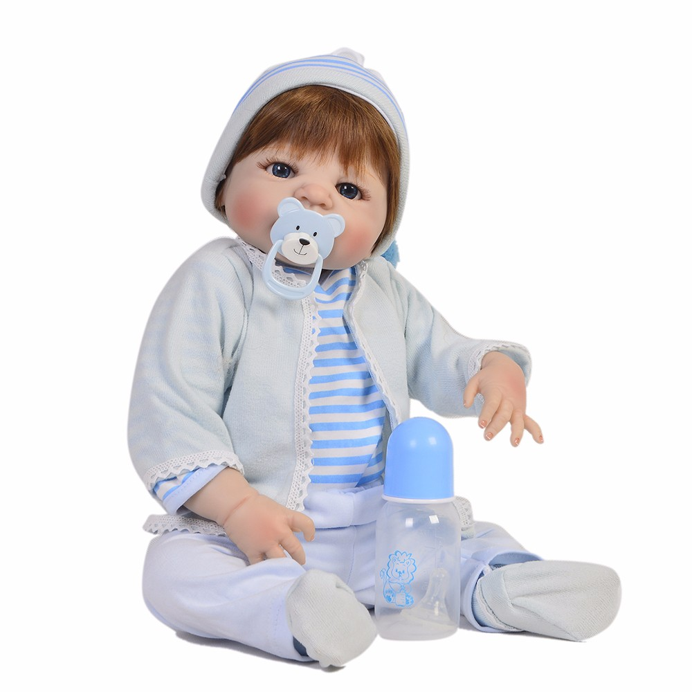 Oyuncaklar ve Hobi Ürünleri'ten Bebekler'de Beyaz Cilt Reborn Bebek Bebekler 23 Inç El Yapımı Yenidoğan Boy Tam Silikon Vinil Bebek Oyuncak Kahverengi Mavi Gözler Banyo oyuncak'da  Grup 3